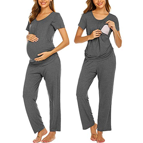 Ekouaer Maternity Pajama Set Nursing Nightie Simple Style O-Neck Tops Loose Pants Sets for Pregnant Woman Grey S