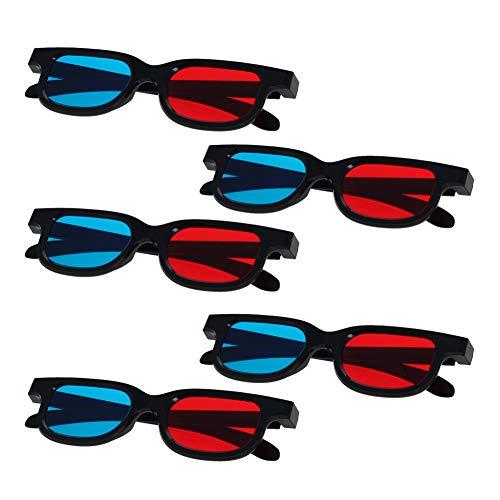 Othmro 3D-Brille mit schwarzem Kunststoffrahmen und Harzlinse, einfacher Stil, 3D-Filmspiel, Rot-Cyan-Anaglyphe, 5 Stück