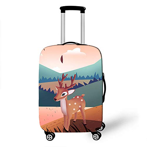 Elastic Luggage Cover, CNNINHAO 3D Print Trolley Case Protective Travel Suitcase Anti Scratch Dustproof Resistant Case Trolley Skin Protector Elasticized Washable (L (26-28inch),Sika Deer 3)