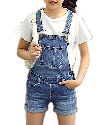 Kidscool Space Baby Soft Ripped Denim Adjustable Jeans Overalls with Waistband