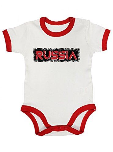 Shirt Happenz Russland Weltmeisterschaft 2018#29 Premium Ringer Babybody | Fan Trikot | Fußball WM | Nationalmannschaft | Mädchen | Kurzarmbody, Farbe:Weiß Rot (White Red BZ19);Größe:12-18 Monate