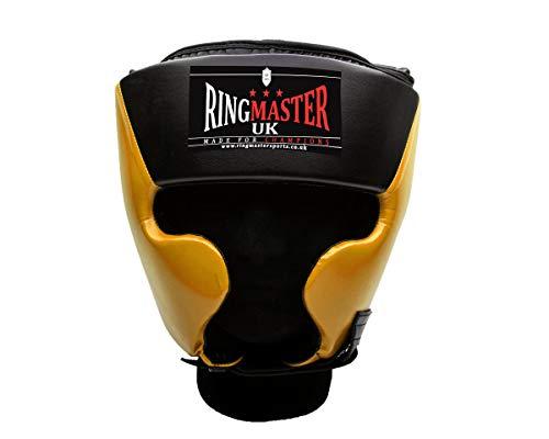 UK Ringmaster Boxen Kopfschutz Kunstleder schwarz gelb, Herren damen, Black and Yellow