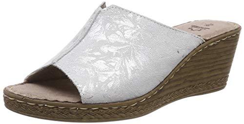Jana 100% comfort Damen 8-8-27210-22 Pantoletten, Silber (Silver Flower 919), 39 EU