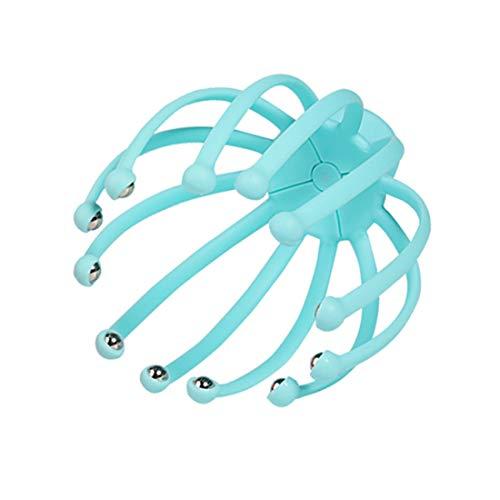 Dacgua 頭部マッサージ ツボ刺激 ツボ押しグッズ 乾湿両用 靭性が強い リラックス (ブルー)