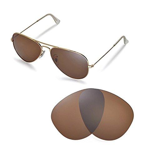 Walleva Ersatzgläser für Ray-Ban Aviator Large Metal RB3025 58mm Sonnenbrille - Mehrfache Optionen (Braun - polarisiert)