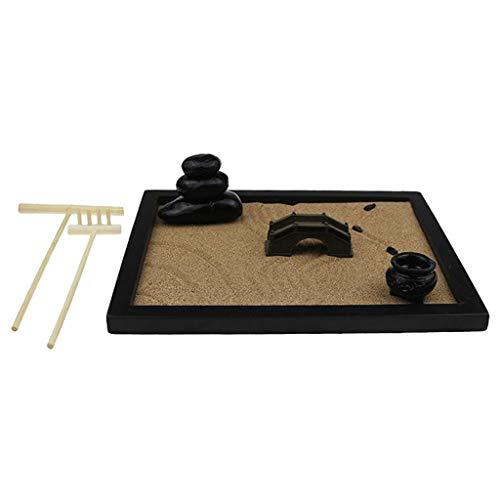 FLAMEER Mesa de meditación Zen Jardín-Oficina Escritorio Mini Rock Zen jardín con rastrillos de Bambú