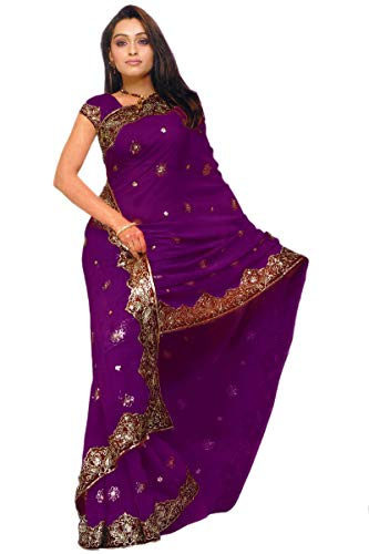 Indian Trendy Women's Bollywood Sequin Embroidered Sari, Wine, Size One Size