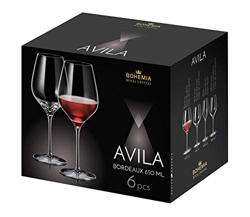 Bohemia Royal Crystal - Copas para Vino Tinto de 650 ml / 8.10 fl oz. Línea Avila. Set de 6 copas. (650 ml)