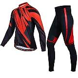 PGone Conjunto del Invierno del Mens Ciclismo Jersey Classic - Camisa térmica Trajes de Manga Larga a Prueba de Viento Ciclismo Conjunto Rojo (Size : Medium)