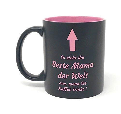Laser Tattoo - Tasse Beste Mama mit Gravur: So Sieht die Beste Mama der Welt aus. (rosa/schwarz)