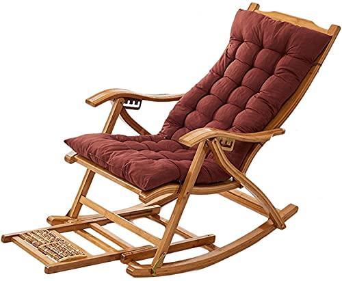 GTYMFH Sillón Terraza reclinable Terreno Mecedora Jardín Interior Silla Mecedora de Madera Silla de Mecedora Plegable con Almohada Puede Usar 330 lbs Mueble