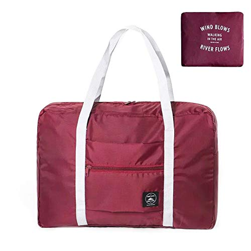 Travel Weekend Bag Canvas Carry on Shoulder Duffel Beach Tote Bag, 48 x 32 x 16/12.6 x 8.3 x 6.3 in Lightweight Waterproof Foldable Storage Carry Duffle Tote Bag Cross-Body Carry On Bag (Wine red)