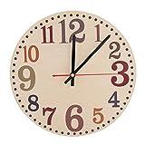 Wifehelper Reloj de pared de estilo vintage, silencioso, no hace tictac, diseño retro, redondo, analógico, de madera, fácil de leer para decoración en el hogar y la oficina (D)