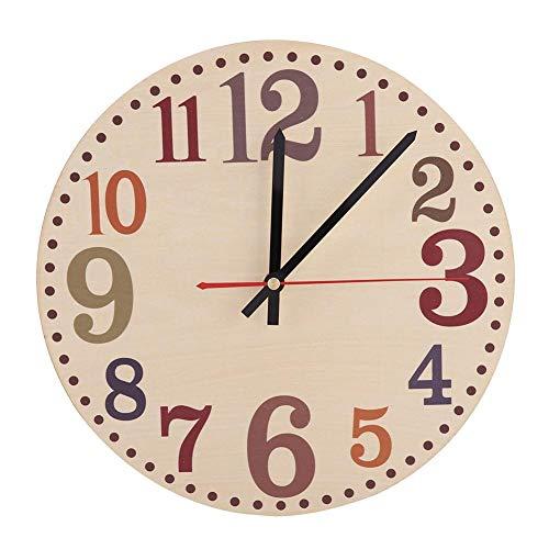 Wifehelper, orologio da parete in stile vintage, silenzioso, design retrò, orologio rotondo da parete in legno, analogico, facile da leggere per decorare casa e ufficio (D)