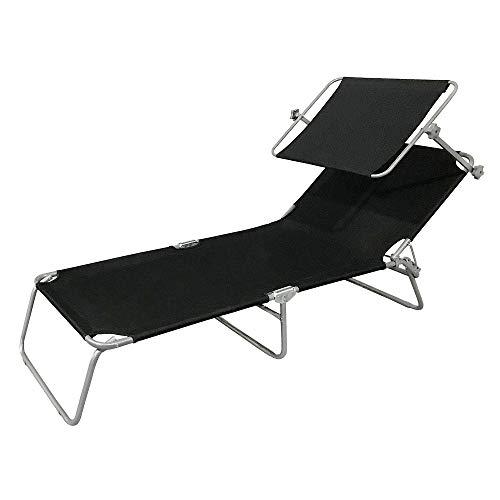HENGMEI Tumbona de Playa Plegable Tumbona Inclinable Tumbona de Aluminio 188 x56 x 27 cm, Negro con toldo