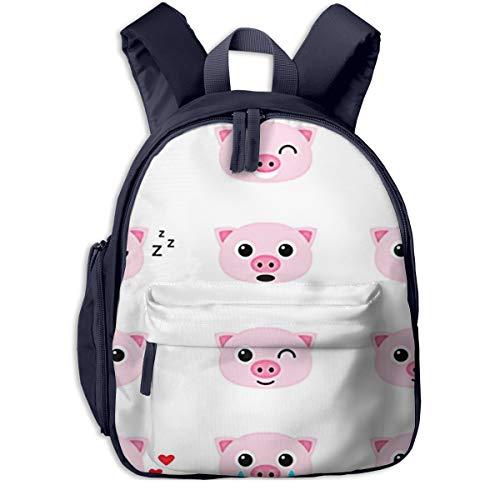Mochilas Infantiles, Bolsa Mochila Niño Mochila Bebe Guarderia Mochila Escolar con Pink Piglet Emoticones De Cerdo para Niños De 3 A 6 Años De Edad