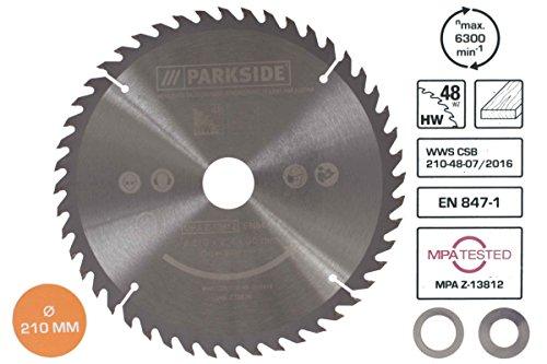 Parkside® Kreissägeblatt +2 Reduzierringe Sägeblatt Ø30mm Bohrung 210 mm 48 Zähne