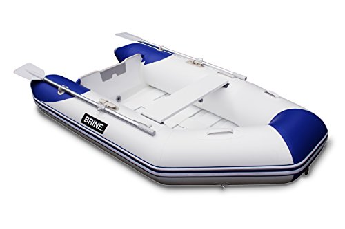 Brine Marine Inflatable Boat Roll Up Dinghy Tender 8 feet - USCG Rated 3 Person 5 HP Motor. Compact Storage and Fast Setup. Pump & Accessories Included.