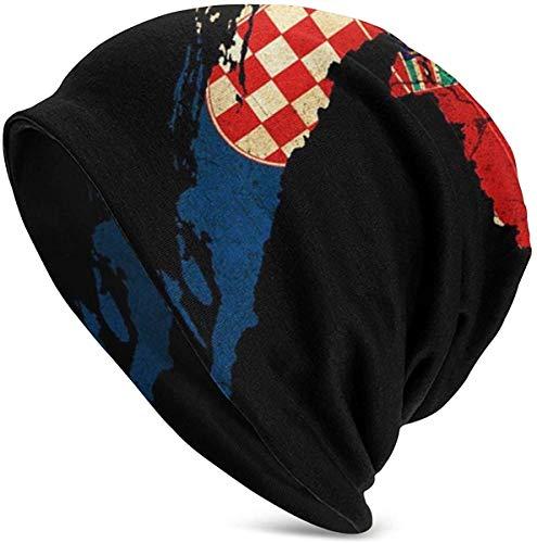 Gift - Vrouwen Mannen Beanie Hip-hop Hoed Stretch Slouchy Baggy Schedel Cap, Kroatië Map Outline Vlag