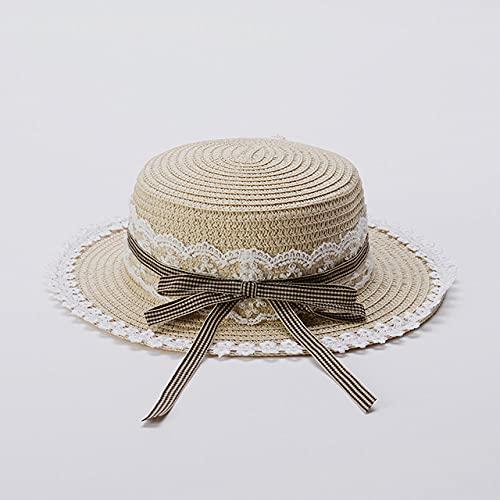 QND,Sombrero,Sombrero de Paja de Encaje Dulce Sombrero para el Sol de ala Ancha de Primavera y Verano para bebé niña, Beige, 48,50CM