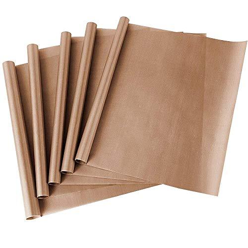 Jowneel Teflon-Papier für Wärmepresse, aus PTFE, Antihaftbeschichtung, hitzebeständig, 40,6 x 61 cm, 5 Stück
