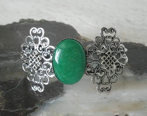 Green Onyx Cuff Bracelet celtic wiccan pagan wicca witch witchcraft handmade jewelry