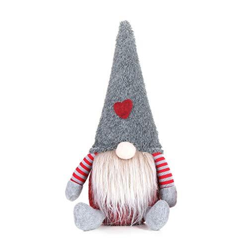 Anjuley Natale A Mano Svedese Gnomo Babbo Natale Seduto In Peluche Bambola Ornamento Di Natale Casa Festa Decorazione Bambini Giocattolo Regalo Grigio