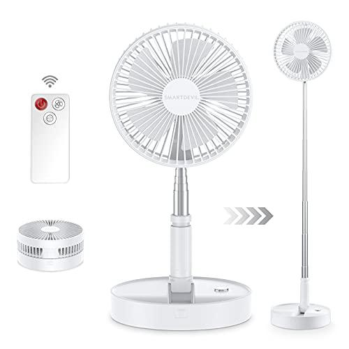 SmartDevil Ventilador de Pie, Ventilador de Pedestal 2en1 Extra Silencioso con Mando a Distancia,4 Velocidades de ventilación, Portátil Plegable, Temporizador, 7200 mAh, Blanco