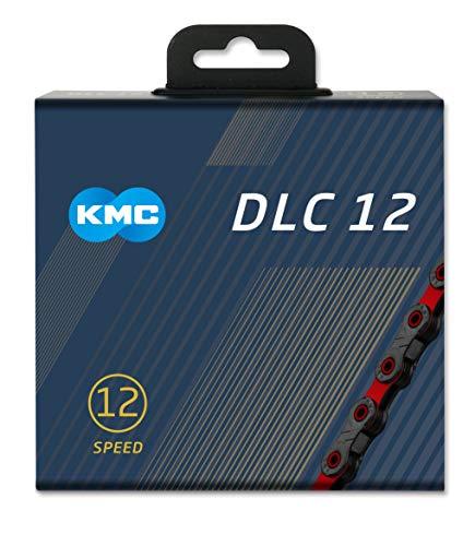 "KMC DLC 12 Chain Black/Red, Catena Unisex-Adulto, Nero/Rosso, 1/2"" x 11/128"""