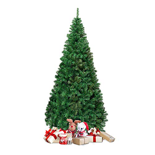 COSTWAY Albero di Natale Artificiale Pino con Supporto in Metallo, Verde, 150-240cm (210cm)
