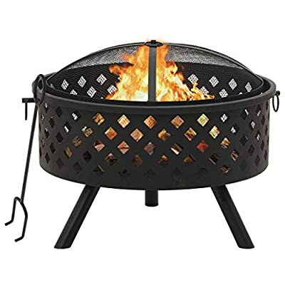 vidaXL Fire Pit with Poker Fire Bowl Patio Heater Fireplace Home Outdoor Garden Furnace Decoration with Mesh Cover 68 cm XXL Steel by vidaXL