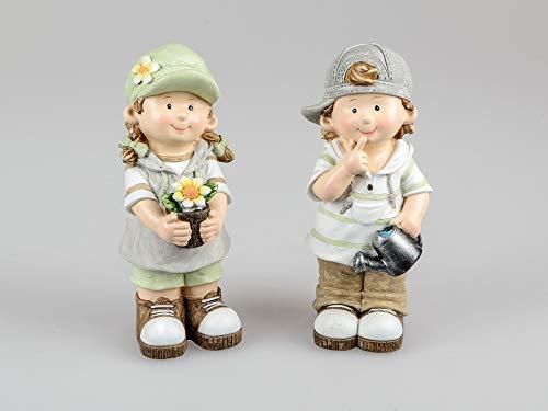Small-Preis - Coppia di statuine da Giardino per Bambini, con Ombrello, 23 cm, Paul e Jule