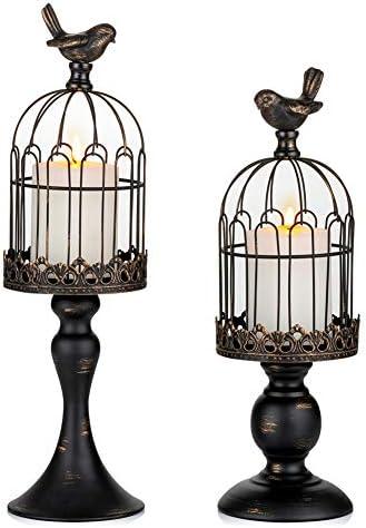 Sziqiqi Vintage Bird Cage Decorative Candle Lantern Set of 2 Decorative Pedestal Candle Holders product image