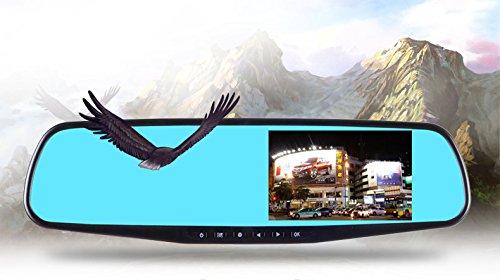 BW® Voiture Double Objectif 10,9 cm vue arrière miroir 1080p HD Grand Angle G-Sensor Android voiture DVR enregistreur Vision nocturne Parking de conduite