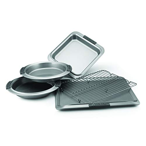 Anolon 57327 Advanced Nonstick Bakeware Set / Baking Pans with Grips - 5 Piece, Gray