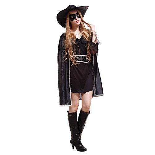 AEIN Halloween dameskostuum, masker cosplay Zorro Halloween kostuum, gemaskerd ridder, 100% polyester