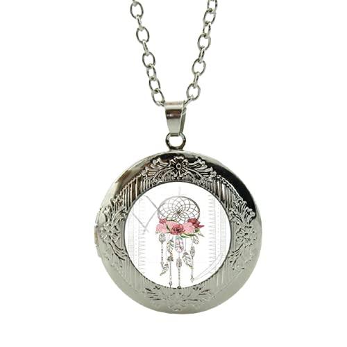 Collar de atrapasueños con medallón hecho a mano y colgante de campanillas de viento para mujer