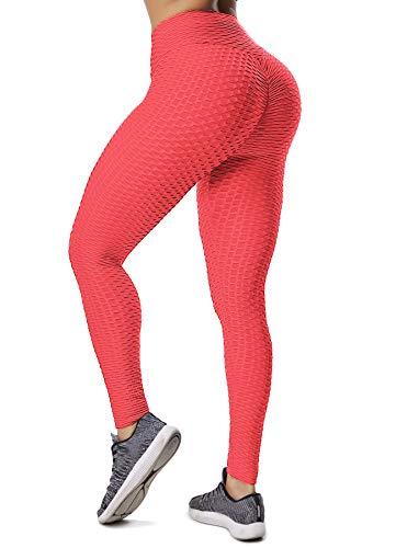 INSTINNCT Damen Slim Fit Hohe Taille Sportshort Lange Leggings mit Bauchkontrolle Orange S