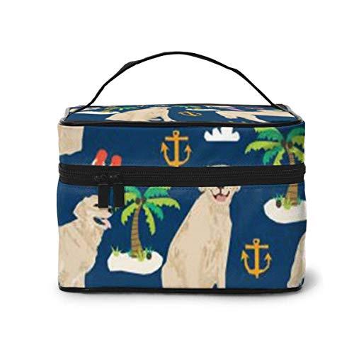 Marine Golden Retriever Voyage Maquillage Train Cas Maquillage Cosmétique Cas Organisateur Portable Artiste Sac De Rangement