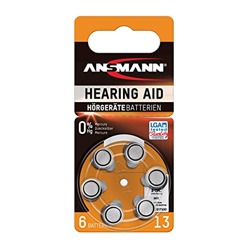 ANSMANN piles pour appareils auditifs / Pack de 1x6 piles zinc-air 1,4V - modéle 13 / Pile bouton pour appareils auditifs présentant une bonne autonomie