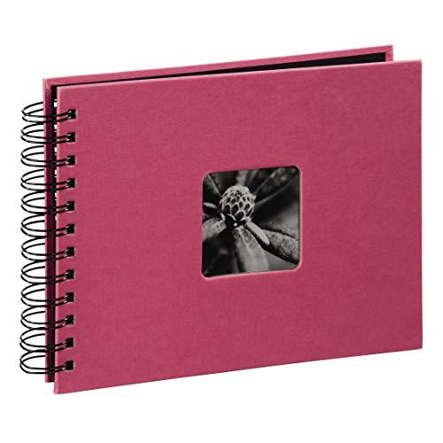 Hama Fotoalbum Fine Art, 50 schwarze Seiten, 25 Blatt, Spiralalbum 24 x 17 cm, mit Ausschnitt für Bildeinschub, orchideen-pink