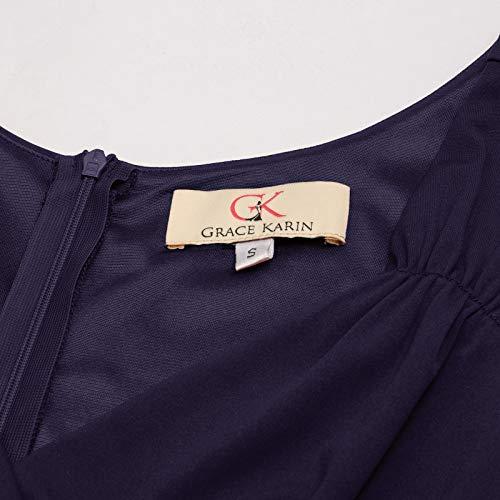GRACE KARIN Petticoat Kleid elegant Swing Kleid Knielang cocktailkleider Retro Vintage Kleider CL698-3 M