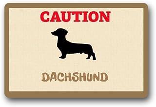 """Custom lavable Felpudo precaución de perro salchicha para interiores/al aire libre Decor alfombra Felpudo 23.6""""(L) X 15,7..."""