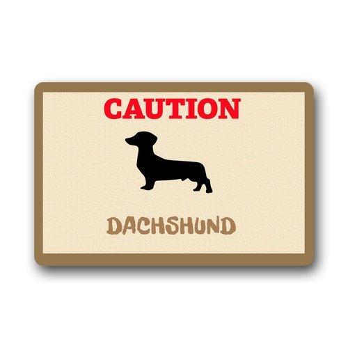 """Custom lavable Felpudo precaución de perro salchicha para interiores/al aire libre Decor alfombra Felpudo 23.6""""(L) X 15,7(W)"""