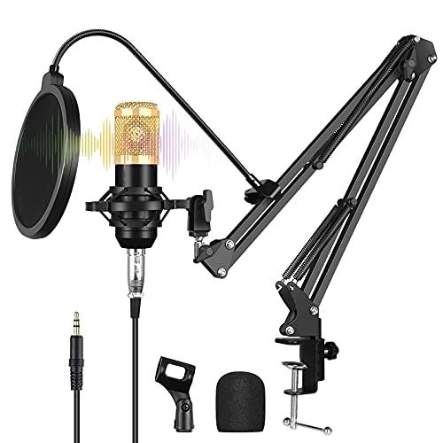 ANLONGLI Micrófono de transmisión en Vivo, Mejor micrófono para transmisión Externa en Vivo, Conjunto de Tarjeta de Sonido USB con Soporte de Brazo Plegable, Tarjeta de Sonido, a Prueba de Golpes