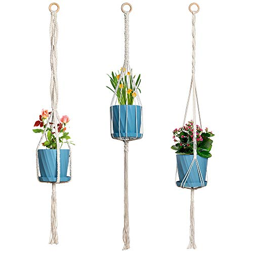 INLI 3 Pack Macrame Plant Hanger with 3 Pcs Pots Trays Stands Hooks Included - Indoor Outdoor Hanging Plant Holder Cotton Rope Flower Home Decor 3 Sizes
