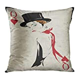 Ajckly Girl Throw Pillow Cover The in Retro Style Playing Poker Casino Cushion Cover Fabric Pillowcase for Living Room Sofa Couch Decor Hidden Zipper 16x16 Inch