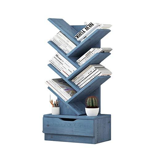 libreria piccola da terra Scaffale per Libri Scaffali Semplici da Terra Scaffale Semplice per Soggiorno Scaffale da Terra Libreria Scaffale per Albero Scaffale Creativo (Color : Blue