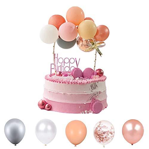 Latex Konfetti Ballon Wolke Kuchen Topper,Mini Ballon Girlande Kuchen Topper,Happy Birthday Cupcake Topper,Tortendeko Geburtstag Partydekoration,Babyparty Topper (Rosa)