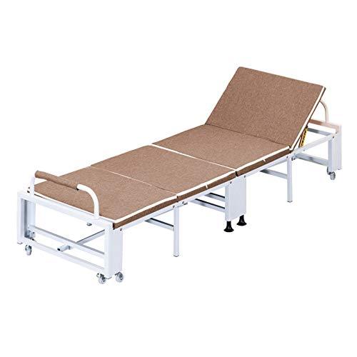 WSN Cama Plegable portátil con Ruedas, Cama Plegable de la huésped Que acampa, catres el Dormir Resistentes de la Cama del acompañante del Hospital,Marrón,90cm